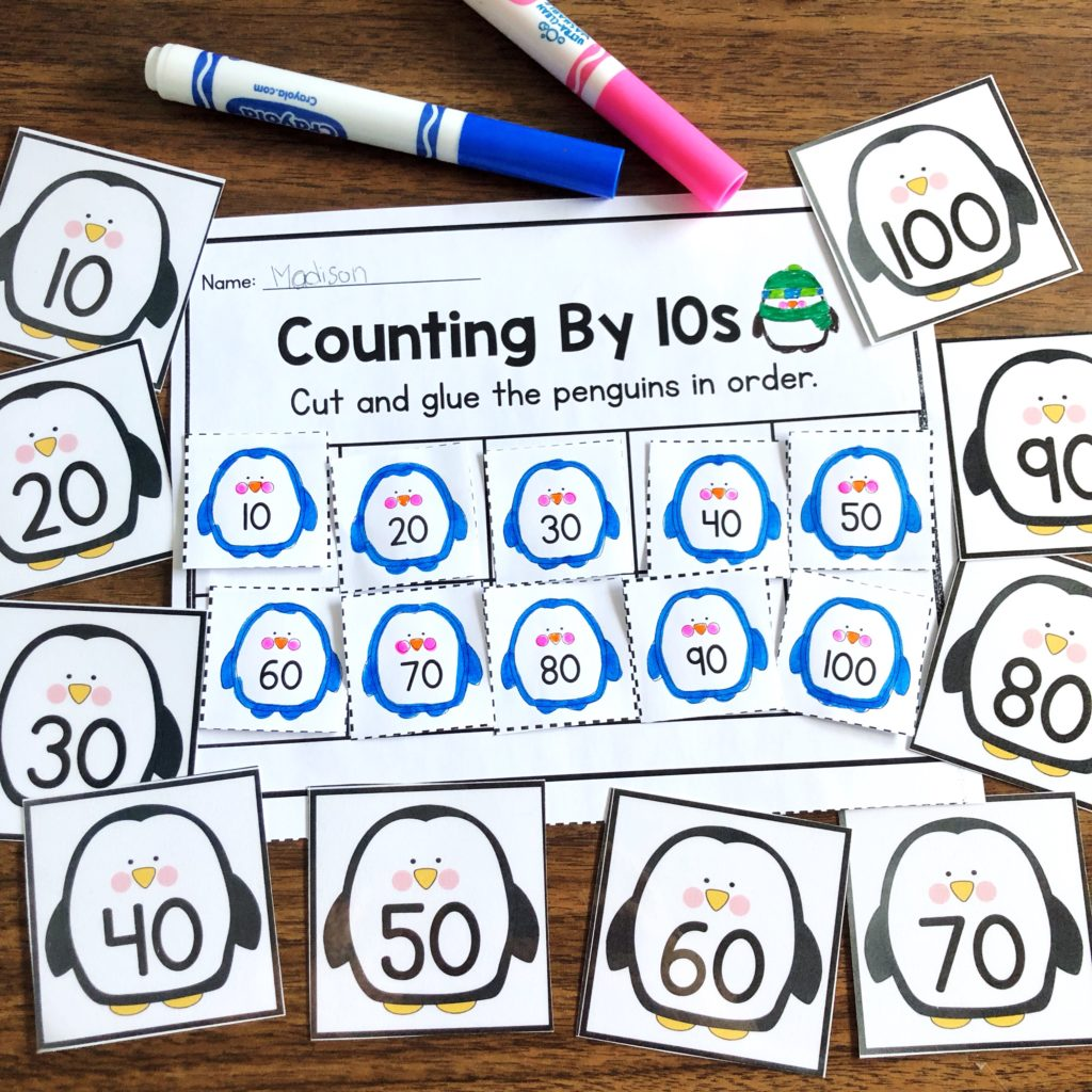 Skip Count by 10s Penguins by Planning in PJs