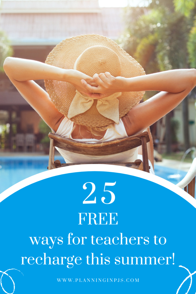 Teachers on Summer Break: Woman relaxing, leaning back on chair by the pool